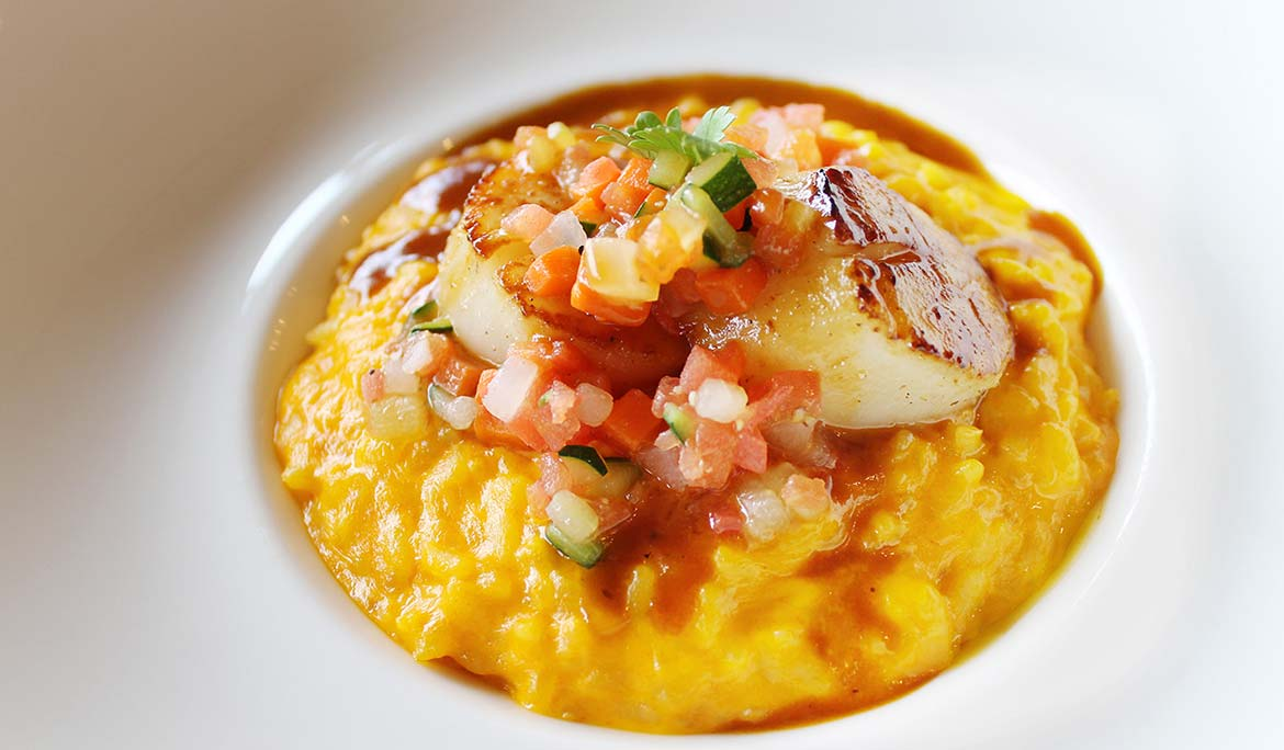 Carrot and Sea Urchin Risotto with Pan-Fried Hokkaido Scallop